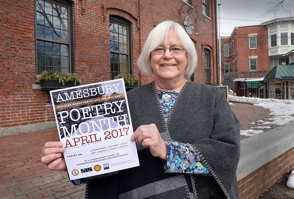 BRYAN EATON/Staff photo. Amesbury's poet laureate Lainie Senechal is promoting next months Poetry Month.