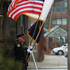JIM VAIKNORAS/Staff photo Newburyport Police Color Guard stand outside at the funeral of former Newburyport mayor Al Lavender Wednesday at the Central Congregational Church in Newburyport.