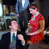"""BRYAN EATON/Staff photo. A scene from the Newburyport High School Theatre Department play """"How to Succeed in Business Without Really Trying"""" portrays Zachary Elia as J.B. Biggley, left, Chloe O'Connell as Hedy Larue and Collin Comeau as Bud Frump, rear. The show starts at 7 p.m. March 3,4,9,10 and 11 in the school auditorium with tickets at $10 for students and $12 for adults."""