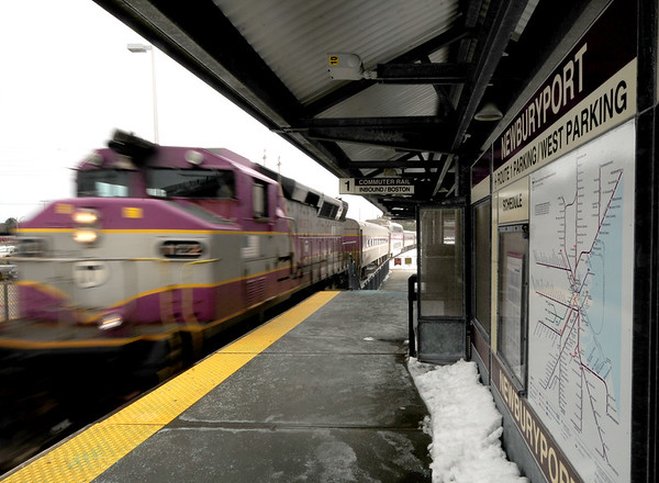 JIM VAIKNORAS/Staff photo The commuter rail pulls into Newburyport train station Sunday afternoon.