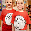 "BRYAN EATON/Staff photo. Alec Young, left, and Olivia Pullen, both 6, dressed up as Thing One and Thing Two, characters from the Dr. Seuss book ""The Cat in the Hat."" They were at Newbury Elementary School which celebrated Read Across America."