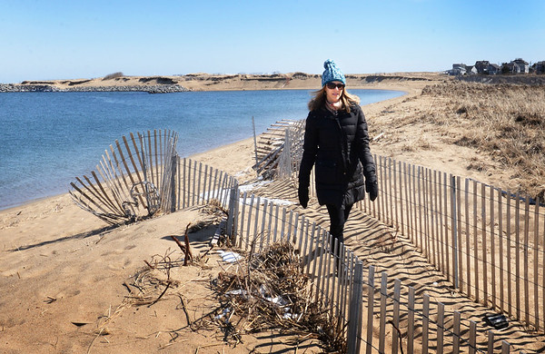 BRYAN EATON/Staff photo. Newburyport conservation agent Julia Godtfredsen on the sand dunes at Plum Island Point. The south jetty can be seen in rear where some erosion has occured.