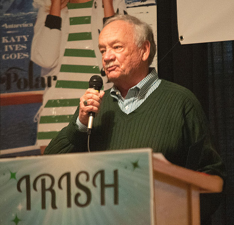 JIM VAIKNORAS/Staff photo Salisbury Department of Public Works Director Donald R. Levesque received Co-Irishman of the Year at the Link House Inc's 15th annual St. Patrick' Day Luncheon at the Masonic Temple in Newburyport Friday.
