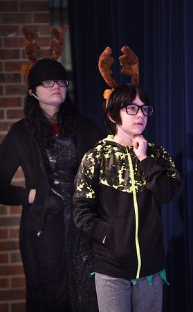 JIM VAIKNORAS/Staff photo Leah Russell Witt and Josiah Bell as woodland deer, rehearse for the Triton Middle School production of Shrek Jr. Show times are Saturday March 11, at 3pm and 7PM at the Triton high school auditorium.