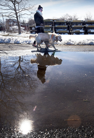 BRYAN EATON/Staff photo. Thea Gilbert of Merrimac with Molly walk by puddles of melting snow at Cashman Park in Newburyport on Monday afternoon. The temperature got just above 50 degrees and it will again Tuesday before dropping on Wednesday.