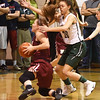 BRYAN EATON/Staff photo. Newburyport's Krysta Padellaro hits the ground as Pentucket's Casey Hunt covers.