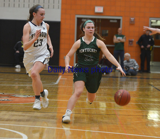 JIM VAIKNORAS/Staff photo Pentucket's Angelina Yacabucci brings the ball up against Foxboro at Woburn high Wednesday night.