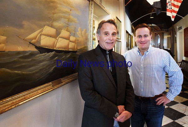 BRYAN EATON/Staff photo. Custom House Maritime Museum executive director Michael Mroz, left, with board chairman Ken Jackman, is stepping down from the Newburyport institution.
