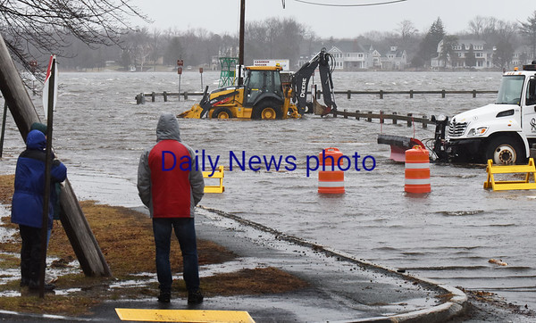 BRYAN EATON/Staff photo. All of Cashman Park in Newburyport was flooded early Friday afternoon.