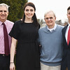 BRYAN EATON/Staff photo. Jennie Meagher, second from left, of Bishop Fenwick and Matt Smith of Gloucester High School, recieved the Larry McIntire IAABO Board 130 Classic Scholarships last night in Danvers. Larry McIntire, Commisioner of Officials, is second from right, and Dave Margossian, left, is scholarship chairman.
