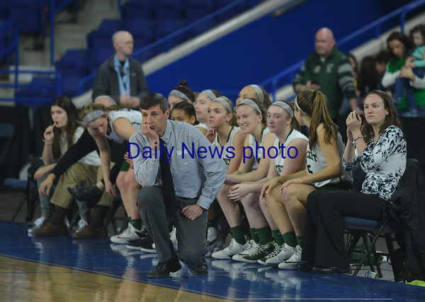 JIM VAIKNORAS/Staff photo Pentucket coach John MacNamara against Wakefield Saturday at the Tsongas Center in Lowell. The win gave the Sachems the North Sectional Championship.