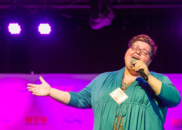 AMANDA SABGA/Staff photo<br /> <br /> Donna Spencer Collins, pastor of Phoenix Rising United Church of Christ, sings at the Greater Haverhill Chamber of Commerce's 22nd annual Winning Opportunities for Women conference at Blue Ocean Music Hall in Salisbury. <br /> <br /> 3/30/17