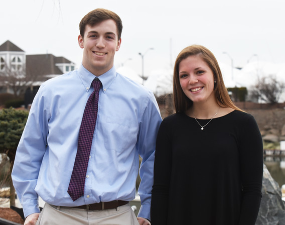 "BRYAN EATON/Staff photo. Triton's Will Parsons, left, and Newburyport's Krysta Padellaro were honored at the IAABO 130 banquet last night in Danvers. They will receive the Edward ""Gint"" Middleton and Roger Alley Awards, respectively, as boys and girls basketball players of the year."