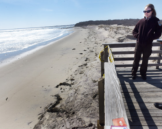 BRYAN EATON/Staff photo. Katie Hojnacki, a biologist with the Parker River National Wildlife Refugue, stands on a boardwalk near parking lot 7 on Plum Island. The wooden boards covered by yellow tape at left blocks where the stairway was to be beach before March storms washed them away.