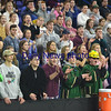 JIM VAIKNORAS/Staff photo Pentucket fans cheer on the high school girls team Saturday as they defeat Wakefield at the Tsongas Center in Lowell to win the North Sectional title.