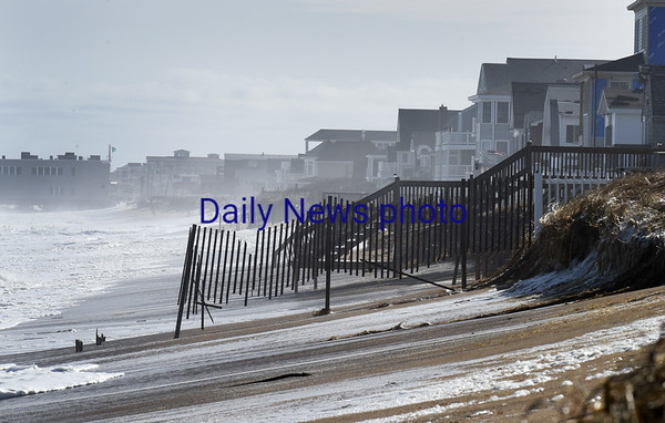 BRYAN EATON/Staff photo. View of some erosion just north of Salisbury Beach center just before high tide Monday afternoon.