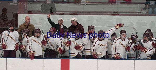 JIM VAIKNORAS/Staff photo Newburyport's bench celebrate a goal Austin Prep at Chelmsford Forum in Billerica Saturday.