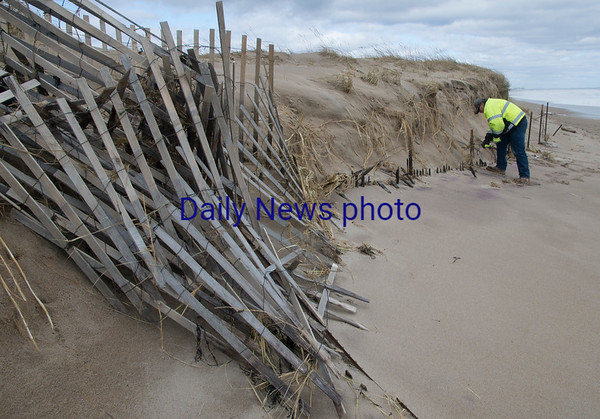 JIM VAIKNORAS/Staff photo DCR worker Jim Deboisbriand secures some sea fence damaged by this weekends storm at Salisbury Beach Reservation Sunday morning.