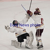JIM VAIKNORAS/Staff photo Newburyport goalie Ken Hodge and Matthew Donlon celebrate their 3-1 victor over Austin Prep at Chelmsford Forum in Billerica Saturday.
