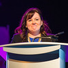 AMANDA SABGA/Staff photo<br /> <br /> Publicist Kat Knox, who represents Boston Marathon bombing survivor Jeff Bauman, speaks on stage at the Greater Haverhill Chamber of Commerce's 22nd annual Winning Opportunities for Women conference at Blue Ocean Music Hall in Salisbury. <br /> <br /> 3/30/17
