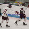 JIM VAIKNORAS/Staff photo Newburyport's Jacob Grossi-Hogg and Matthew Babcock celebrate Grossi-Hogg's goal against Austin Prep at Chelmsford Forum in Billerica Saturday.
