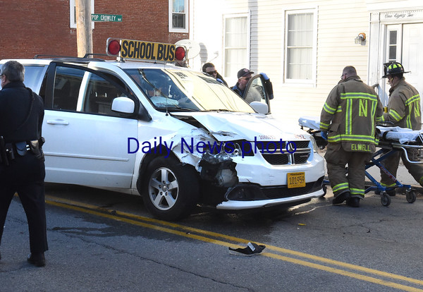 BRYAN EATON/Staff photo. The driver of this was bus, in a multi-car collision near the Park Lunch on Merrimac Street in Newburyport, was transported to the Anna Jaques Hospital late Monday afternoon.