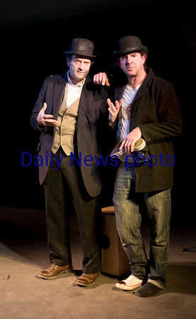 "JIM VAIKNORAS/Staff photo , Jason Novak as Estragon, Stephen Faria as Vladimir in a production of ""Waiting for Godot""."