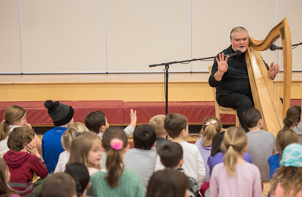 AMANDA SABGA/Staff photo<br /> <br /> Professional storyteller Odds Bodkin performs for students as he visits the Francis T Bresnahan Elementary School.<br /> <br /> <br /> 3/5/19