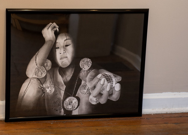 AMANDA SABGA/Staff photo<br /> <br /> Disco, a charcoal piece by Coco Haseltine, is an excellence award winner during the Young and Budding Artist Exhibition at the Newburyport Art Association.<br /> <br /> <br /> <br /> 3/5/19
