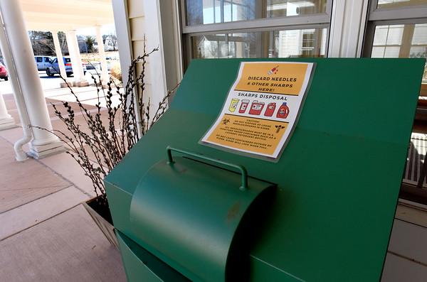 BRYAN EATON/Staff photo. Needle drop off box is set up outside the Newburyport Senior and Community Center.