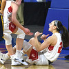 JIM VAIKNORAS/Staff photo Amesbury's Alli Napoli reacts after making a bucket an getting fouled against St.Mary's in the D3 North final at the Tsongas Center in Lowell Saturday. St. Mary's won the game 59-48.