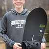 BRYAN EATON/Staff photo. Brody Tonks is a seventh-grader at Amesbury Middle School who is also an elite snowboarder, and later this month he will be competing at Nationals out in Colorado.