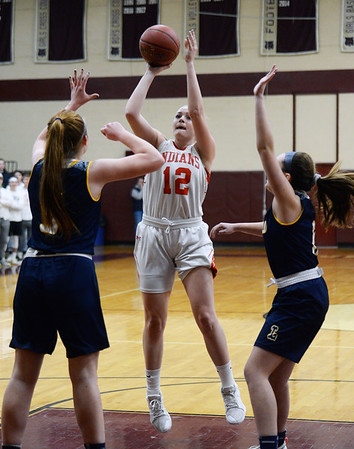 CARL RUSSO/staff photo. Amesbury's Flannery O'Connor takes the jump shot. Amesbury girls basketball vs. Lynnfield in Division 3 North semifinals. 3/6/2019