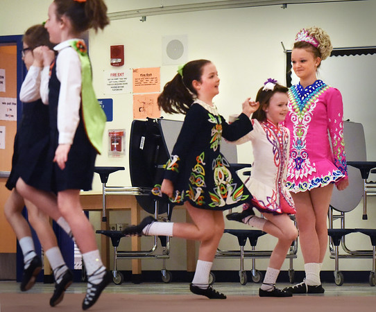 BRYAN EATON/Staff photo. Students at the Bresnahan School were treated to performances for St. Patrick's Day Weekend from three schools: Bracken School of Irish Dance; Murray Academy and Heavey Quinn Academy of Irish Dance.