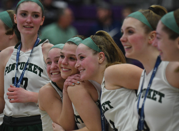 JIM VAIKNORAS/Staff photo Pentucket players are all smiles  after defeating North Hampton at Holy Cross in Worchester Saturday.