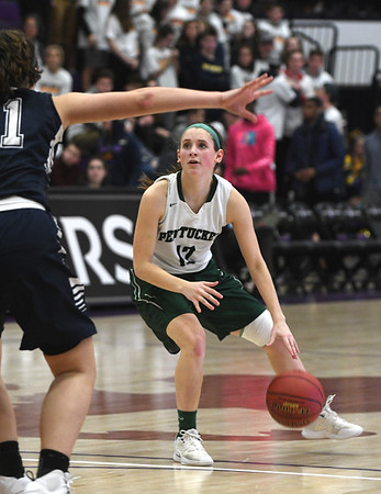 JIM VAIKNORAS/Staff photo Pentucket's Jessica Galvin brings the ball up against North Hampton at Holy Cross in Worchester Saturday.