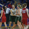 JIM VAIKNORAS/Staff photo Pentucket's #12 Jessica Galvin, #20 Hannah Lambert and #21 Madeline Doyle celebrate their victory over Tewksbury Saturday in the D2 North Sectional Final at the Tsongas Center in Lowell.