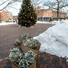 "JIM VAIKNORAS/Staff photo A boxes of Christmas lights and a tree sit in Market square in Newburyport Thursday. The holiday items are props for a movie ""Ring for Christmas"" being filmed in the city."