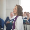 JIM VAIKNORAS/Staff photo Reverend Rebecca Michaela Bryan sings a Hymn at her installation as the 16th settled minister of the First Religious Unitarian Universalist Church in Newburyport Sunday.