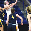 JIM VAIKNORAS/Staff photo Amesbury's McKenna Hallinan glides to the basket against St.Mary's in the D3 North final at the Tsongas Center in Lowell Saturday. St. Mary's won the game 59-48.