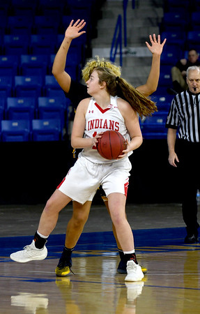 JIM VAIKNORAS/Staff photo Amesbury's Mary Bullis makes a move against St.Mary's in the D3 North final at the Tsongas Center in Lowell Saturday. St. Mary's won the game 59-48.