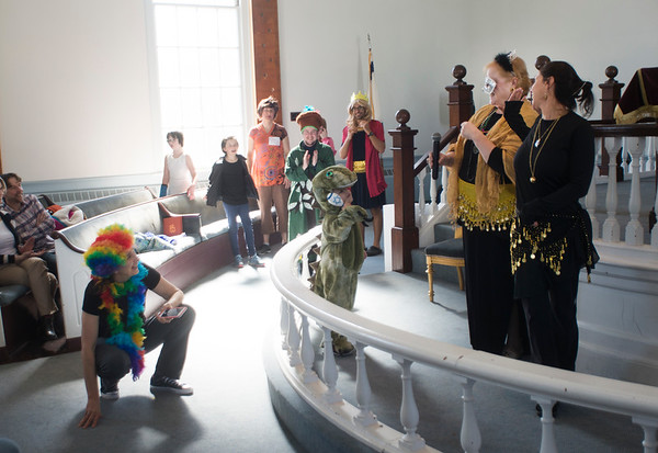 JIM VAIKNORAS/Staff photo Participants line up for the costume contest  at a Purim Celebration at the Congregation Ahavas Achim in Newburyport Sunday morning. The celebration included games and prizes, crafts, face painting and a costume contest.