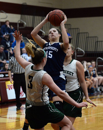 CARL RUSSO/staff photo. Swampscott's Nicole Rosa fights to make the layup. Pentucket vs. Swampscott girls basketball in the Division 2 North semifinals. 3/5/2019