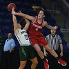 JIM VAIKNORAS/Staff photo Pentucket's Angelina Yacubacci is fouled by Tewksbury's Erin Gallella Saturday in the D2 North Sectional Final at the Tsongas Center in Lowell.