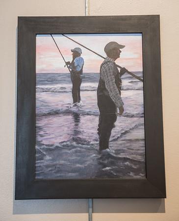 AMANDA SABGA/Staff photo<br /> <br /> Surf Fishing, an acrylic piece by Kasey Favor, is winner of Best in Show during the Young and Budding Artist Exhibition at the Newburyport Art Association.<br /> <br /> <br /> <br /> 3/5/19