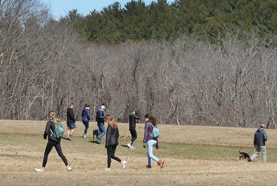 BRYAN EATON/Staff photo. Scores of people were out at Maudslay State Park in Newburyport on Saturday afternoon, indeed the paved parking lot was about full. Rain is in the forecast for tonight with clearing for Tuesday and temperature forecast to be 52 degrees.