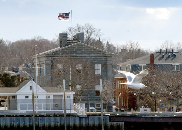 BRYAN EATON/Staff Photo. The strong wind blows the American flag atop the Maritime Custom House Museum in Newburyport as a seagull glides in the wind as well. Photo was taken from the Salisbury Town Pier on Ring's Island.