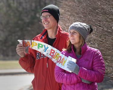 BRYAN EATON/Staff photo. Jessa Haynes, who helps out at the West Newbury Senior Center, and her husband, Tim, were on hand to wish Zuker happy birthday.