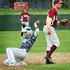 BRYAN EATON/Staff Photo. Triton's Adam Chatterton steals second as no throw comes to Newburyport second baseman Matt Short.