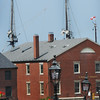 BRYAN EATON/Staff Photo. It's hard escaping from the shadow of the tall ship El Galeon on Newburyport's waterfront. The three masts can be seen in a photo taken from State Street at Pleasant.